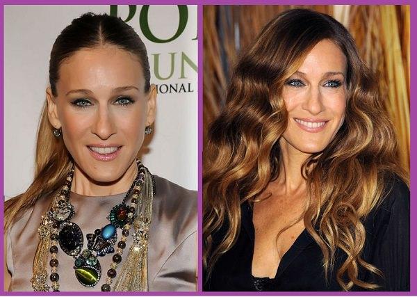 comparer coiffure allongée Sara Jessica Parker