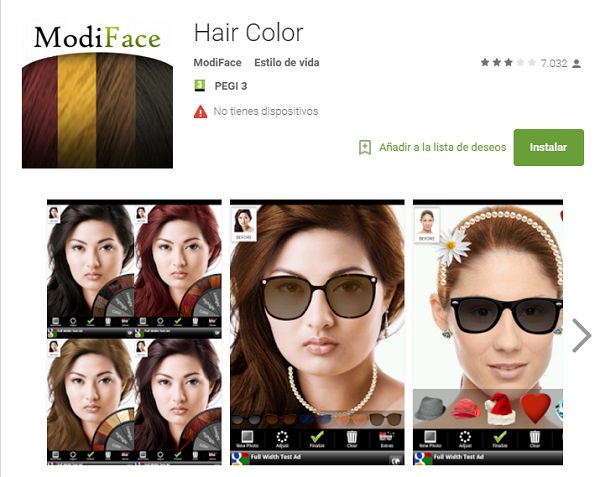 Aplicaciones moviles de peinados hair Color
