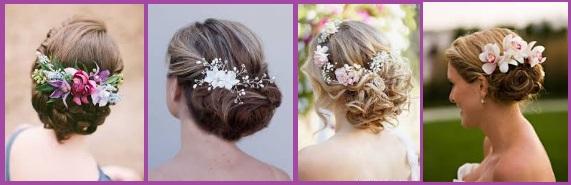 Moño bajo con tocado de flores boda invitada