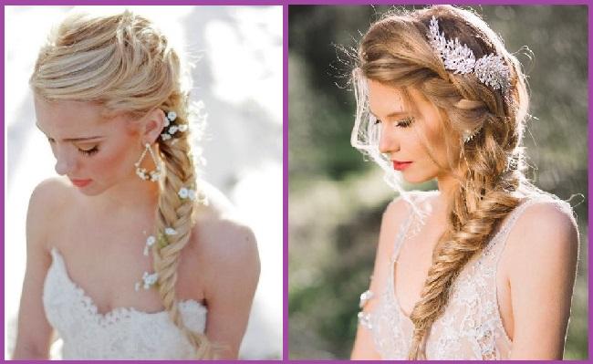 Peinados con trenzas para novias con velo