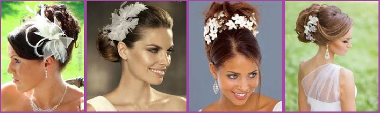 Peinados de Moño alto tocado para novias