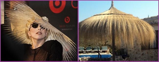 peinado sombrilla paja lady gaga