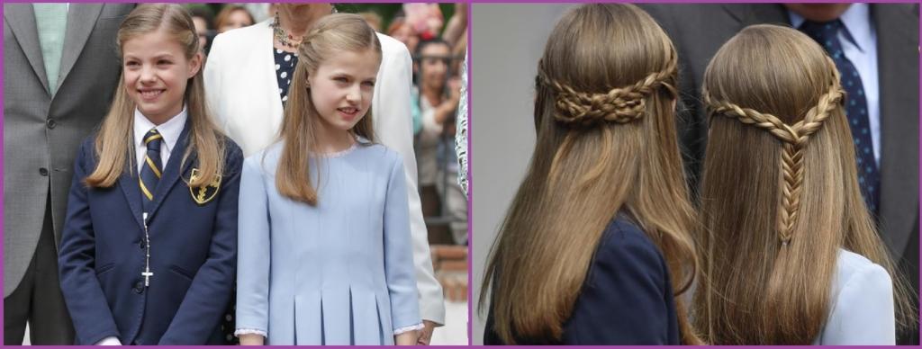 Recogido dos trenzas finas- Peinados de la Princesa Leonor