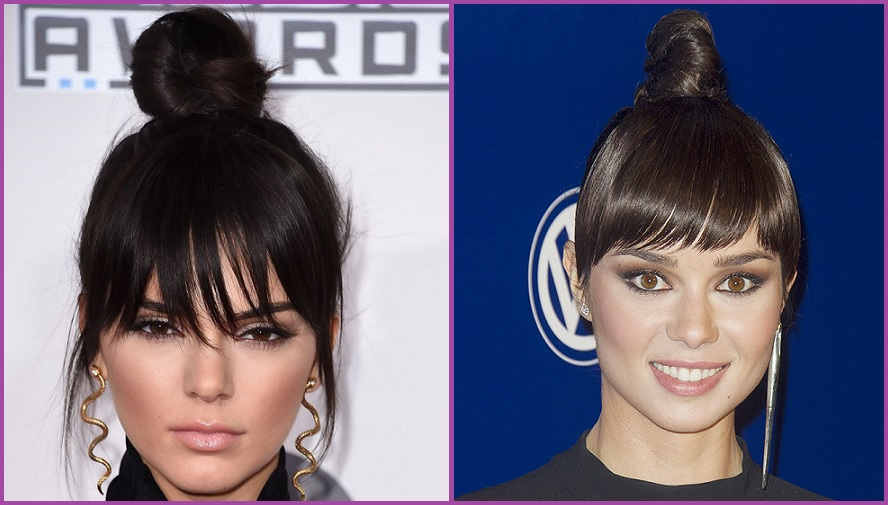 """Kendall Jenner y Dafne Fernandez se suman al moño alto con flequillo- Cómo hacer un moño """"arreglao """"pero informal- Peinados de 10"""