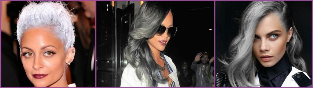 Nicole Richie, Rihanna y Cara Delevingne todo al gris- Peinados de 10