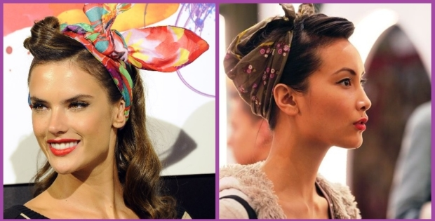 Peinado con rolls y pañuelo- Peinados de los 50 para mujeres pin up