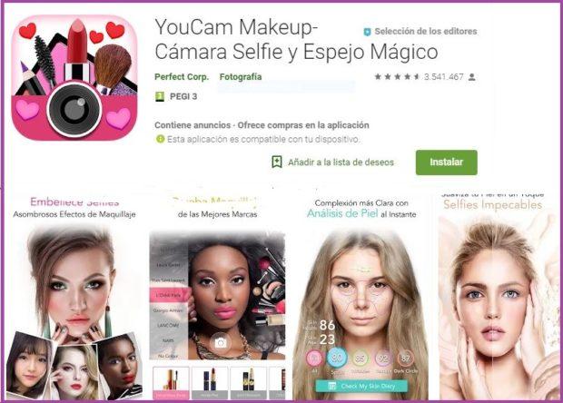 YouCam MakeUp Un salón de belleza en tu móvil- 9 apps de maquillaje que triunfan en 2019