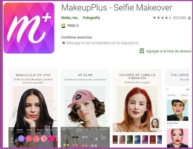 MakeupPlus consigue retocar tu cara de forma sencilla- 9 apps de maquillaje que triunfan en 2019