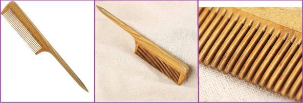 Peine de cola de madera natural, fotos de Amazon- Los 5 mejores peines para pelo largo